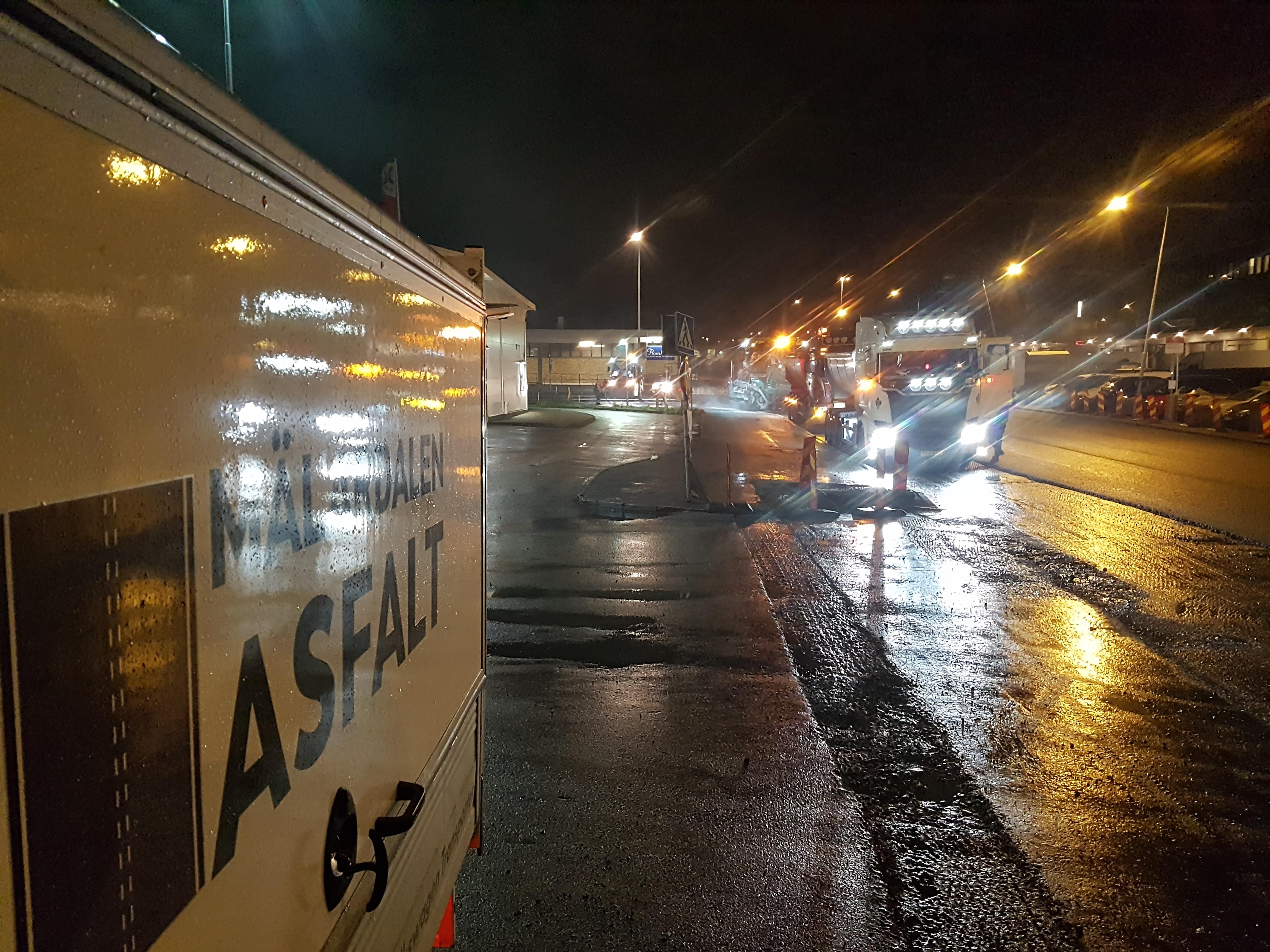 Nattläggning Partihandlarvägen i Årsta